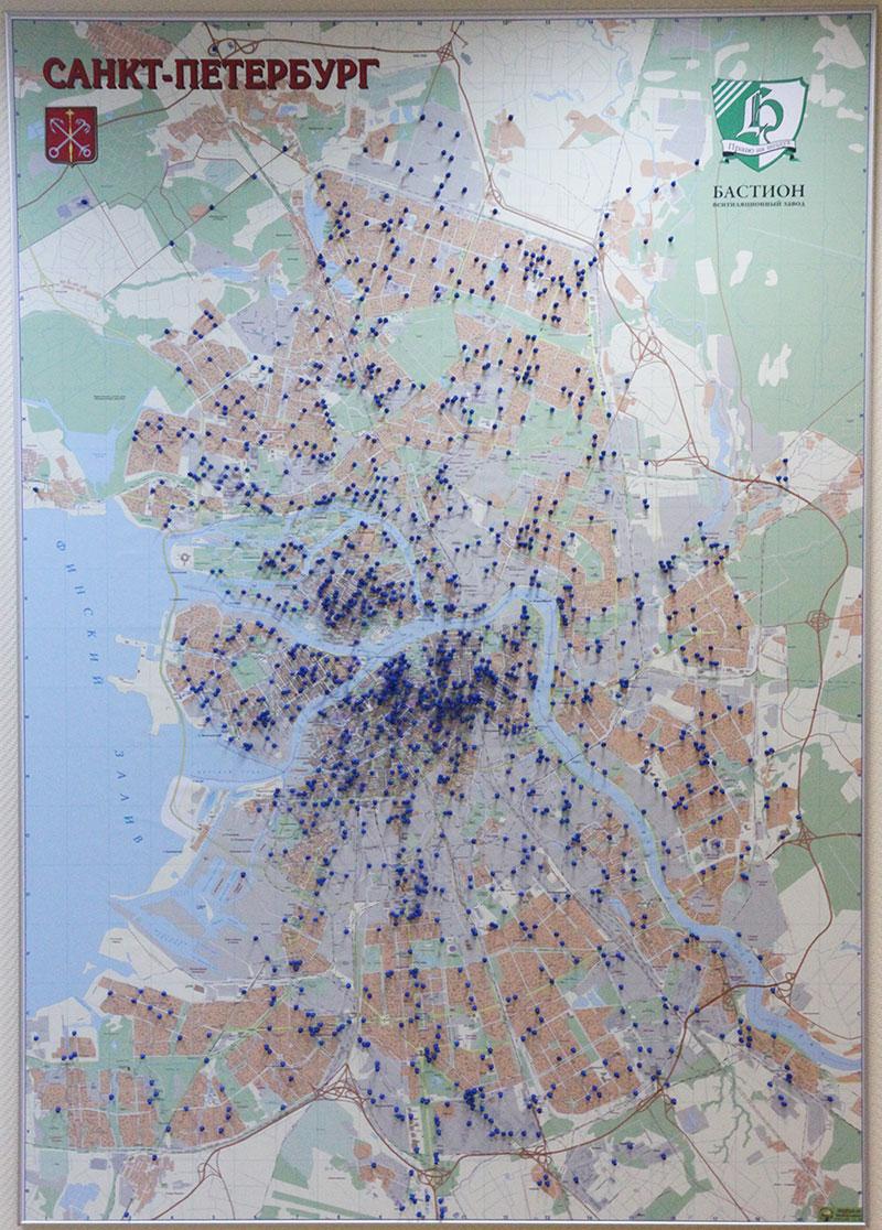 Карта Санкт-Петербурга - Завод БАСТИОН