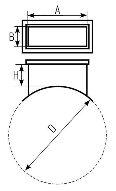 Чертеж врезки прямоугольной на круглое сечение воздуховода