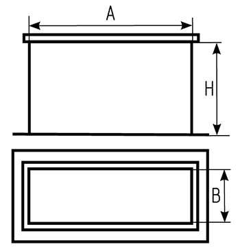 Чертеж врезки прямоугольной прямой для воздуховода